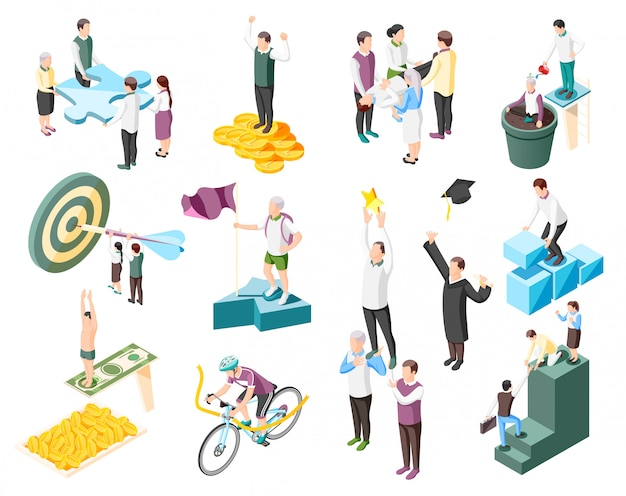 Colección de ilustración isométrica de concepto de éxito con personajes humanos aislados de personas exitosas y objetivo conceptual