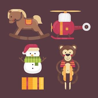 Colección de ilustración de juguete de navidad de diseño plano