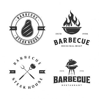 Colección de ilustración de logotipo de barbacoa