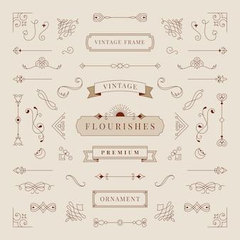 Colección de ilustración de marco de ornamento vintage