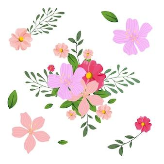 Colección de ilustración de ramo floral 2d