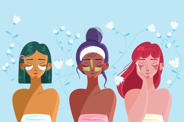 Colección de ilustración de rutina de cuidado de la piel de mujer