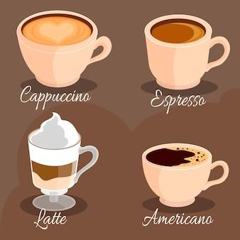 Colección de ilustración de tipos de café