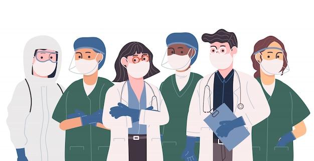 Colección de ilustración de vector de estilo plano de equipo profesional de médico y enfermera.