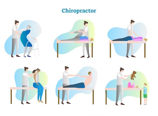 Colección de ilustración de vector de quiropráctico
