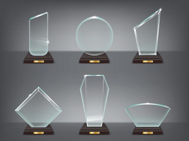 Colección ilustración vectorial de trofeos de vidrio modernos, premios
