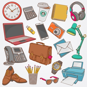 Colección de ilustración vectorial de garabatos dibujados a mano de objetos comerciales y artículos de oficina