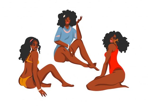 Colección de ilustraciones abstractas dibujadas a mano con jóvenes felices, mujeres de belleza positiva en trajes de baño sentado en la playa sobre fondo blanco.