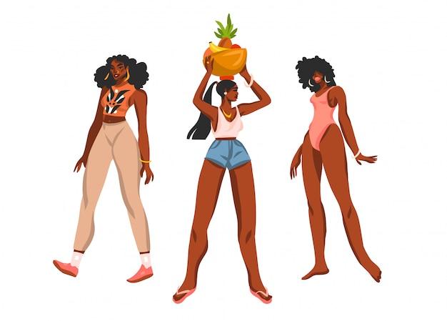 Colección de ilustraciones abstractas dibujadas a mano con jóvenes felices, mujeres de belleza positiva en trajes de verano sobre fondo blanco.