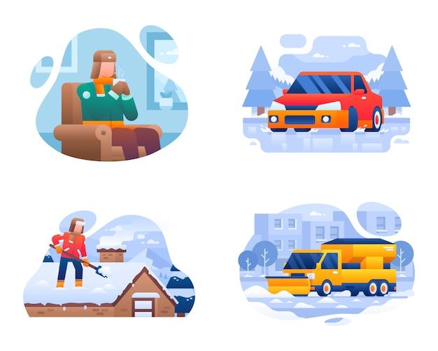 Colección de ilustraciones de actividades de la vida de invierno