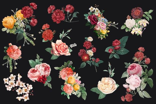 Colección de ilustraciones de acuarela de flores de colores