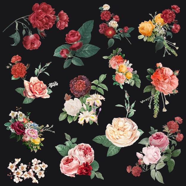 Colección de ilustraciones de acuarela de vector de flores de colores
