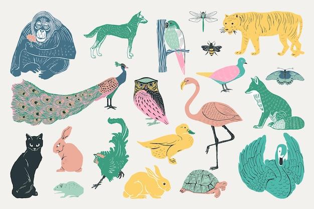 Colección de ilustraciones de animales vintage