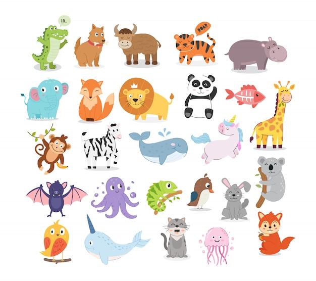Colección de ilustraciones de animales.