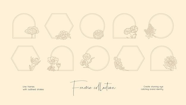 Colección de ilustraciones de arte lineal de marcos vectoriales decorativos para marca o logotipo