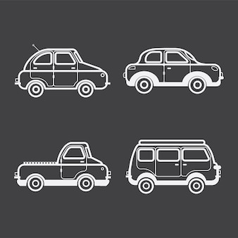 Colección de ilustraciones de automóviles y vehículos.