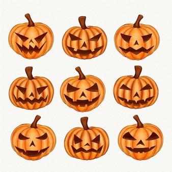 Colección de ilustraciones de calabaza de halloween en acuarela