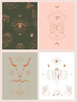 Colección de ilustraciones de carteles místicos y mitológicos en estilo dibujado a mano.