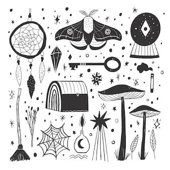 Colección de ilustraciones sin color dibujadas a mano