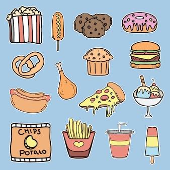Colección de ilustraciones de comida rápida dibujadas a mano.