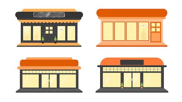Una colección de ilustraciones de construcción de tiendas.