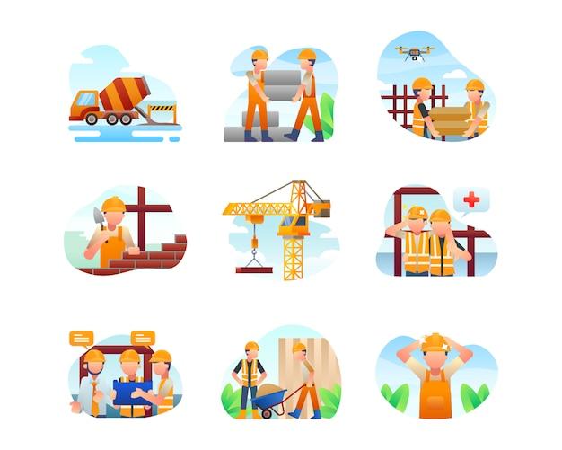 Colección de ilustraciones de construcción