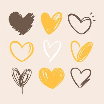 Colección de ilustraciones de corazones dibujados a mano
