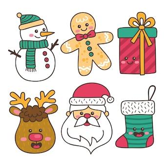 Colección de ilustraciones dibujadas a mano de elementos navideños