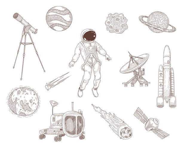 Colección de ilustraciones dibujadas a mano del espacio y la galaxia