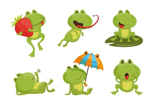 Colección de ilustraciones de dibujos animados con ranas