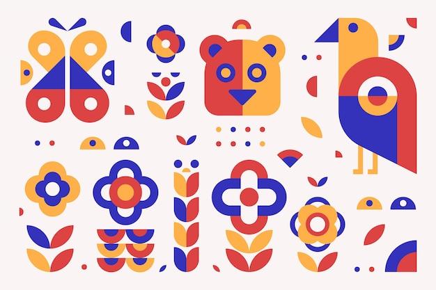 Colección de ilustraciones de elementos geométricos simples de diseño plano