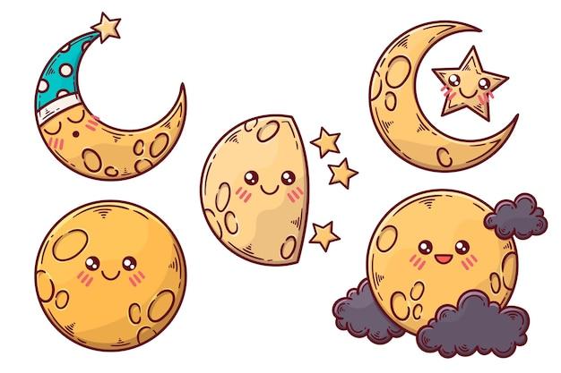 Colección de ilustraciones de elementos lunares