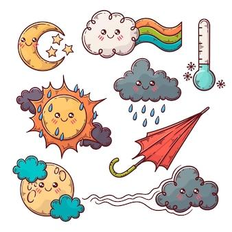 Colección de ilustraciones de elementos meteorológicos