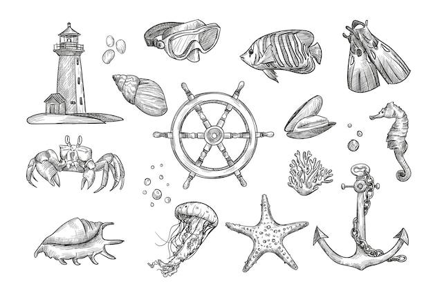 Colección de ilustraciones de elementos náuticos de dibujo a mano