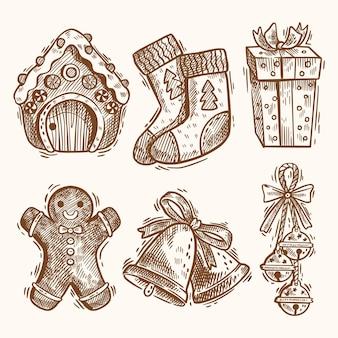Colección de ilustraciones de elementos navideños dibujados a mano