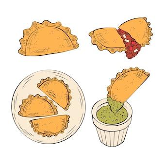 Colección de ilustraciones de empanada