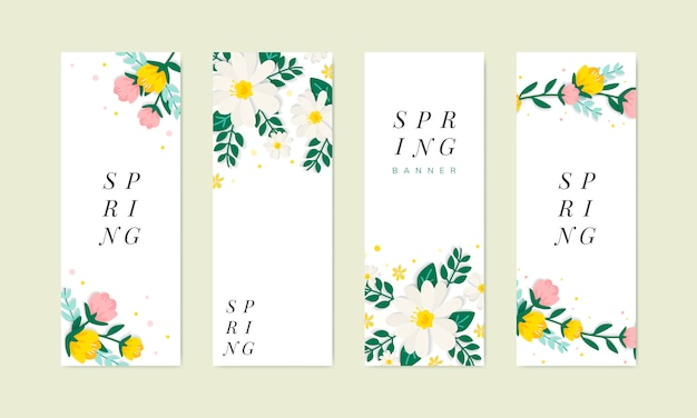 Colección de ilustraciones florales de primavera.