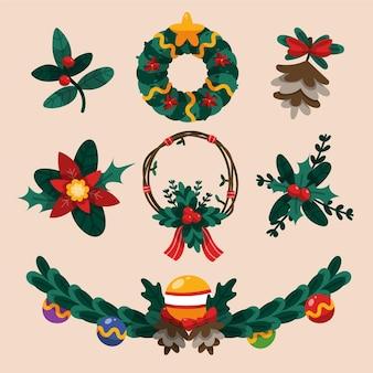 Colección de ilustraciones de flores y guirnaldas navideñas dibujadas a mano