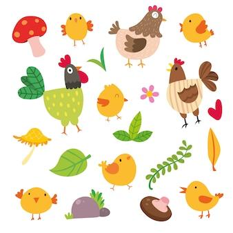 Colección de ilustraciones de gallinas