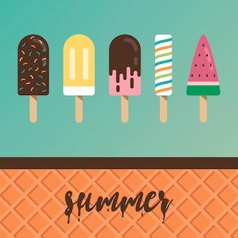 Colección de ilustraciones de helados.