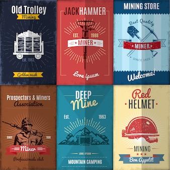 Colección de ilustraciones de la industria minera