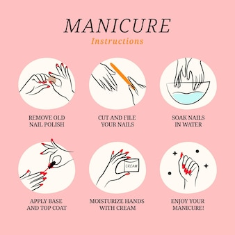 Colección de ilustraciones de instrucciones de manicura