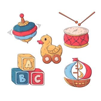 Colección de ilustraciones de juguetes de navidad dibujados a mano