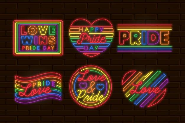 Colección de ilustraciones de letreros de neón del día del orgullo