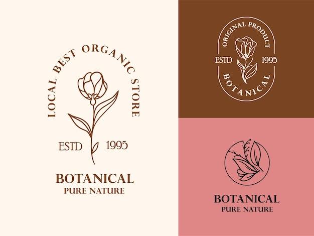 Colección de ilustraciones de logotipos florales dibujados a mano para marcas de belleza, naturales y orgánicas