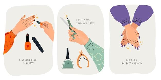 Colección de ilustraciones de manicura hechas