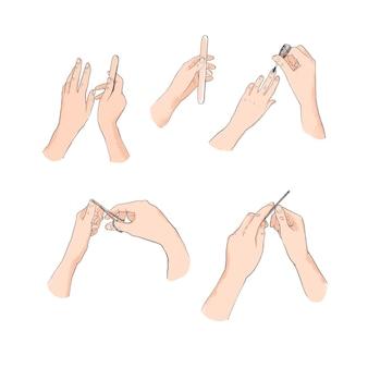 Colección de ilustraciones de manos de manicura