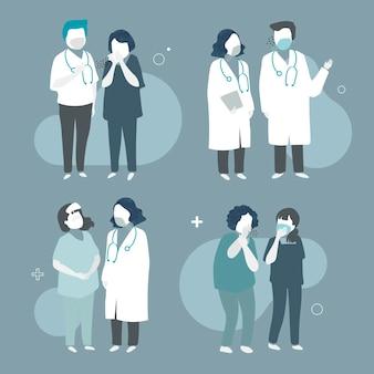Colección de ilustraciones con médicos con máscaras faciales.