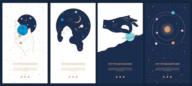 Colección de ilustraciones misteriosas y espaciales para plantillas de historias, aplicación móvil