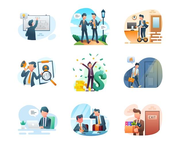 Colección de ilustraciones de negocios